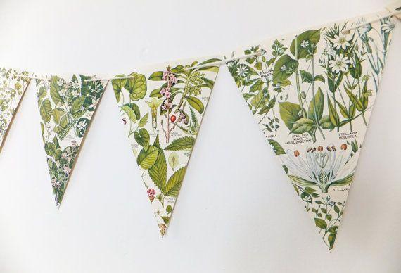 Botanical Bunting, recycled Garland, eco-friendly banner, upcycled bunting, spring wedding decor, Wedding Pennants