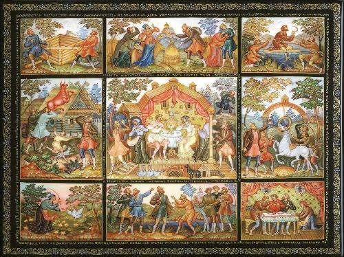 Mstera School Title: Lutonyushka fairy tale Artist: Moshkovich Vladimir Size (cm): 24.5x18.5x4.5 Size (inches): 10x7.5x2