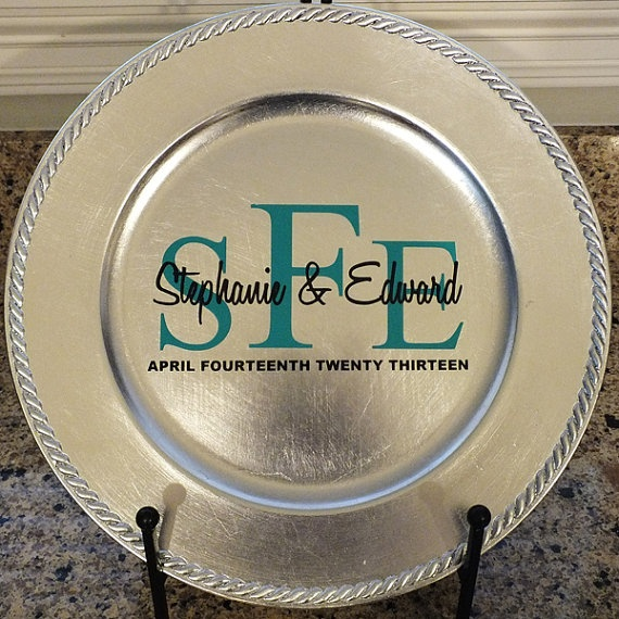 Personalized Charger Plate with Monogram by VinylGifts on Etsy, $10.00