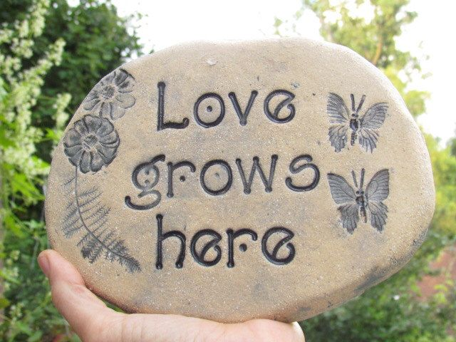 love grows here garden stone rustic garden decor rough textured rocklike ceramic clay garden accent plant art gift