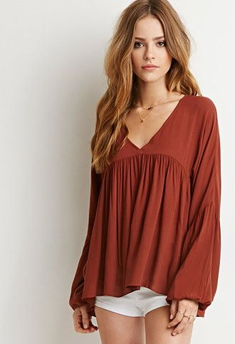 Pleated Bell-Sleeve Top | Forever 21 - 2000142380