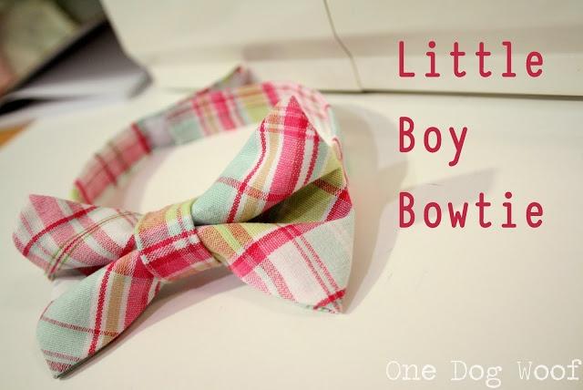 Easy Bow Tie-- already tied + velcro for little boys. One Dog Woof: Little Boys Bow Tie Tutorial