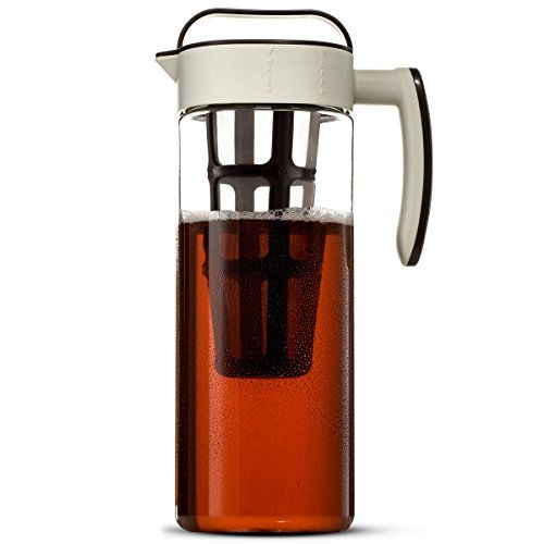 Komax Large Cold Brew Coffee Maker 2 quart (8 Cups) Tritan Pitcher - With Stainless Steel Mesh Infuser - Air Tight Seal Space Saving Square Design For Concentrated Hot or Cold Beverages