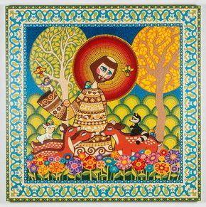 Técnica: Mosaico de Tinta Tamanho: 140 x 140 cm Tinta plástica sobre madeira com acabamento em verniz marítimo