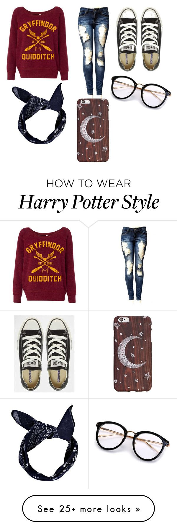 """Harry p casual"" by psychlock on Polyvore featuring Converse and Boohoo"
