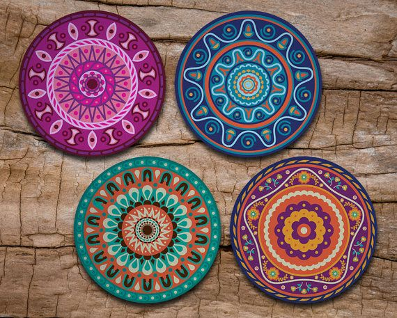 Mandala Coaster Set of 4 - Mandala Art - Drink coasters
