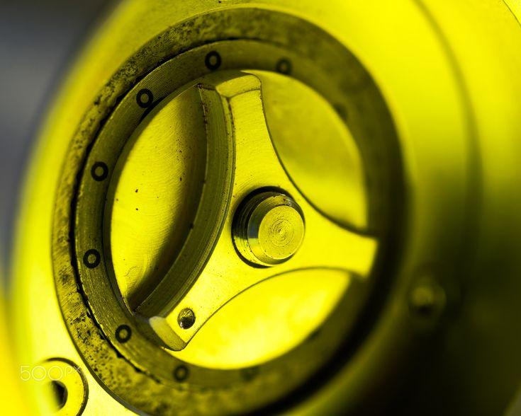 Adjuster - Up close to ground adjustment ring on Helor 101 precision hand grinder.