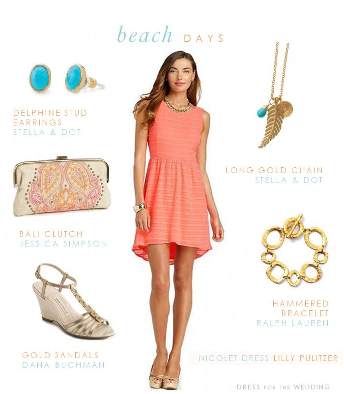 Coral, Blue, and Gold for a Beach Wedding Guest