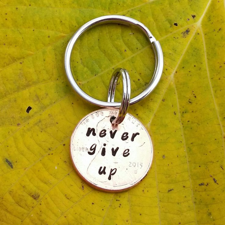 never give up keychain sobriety gift, recovery, INSPIRATIONAL addiction recovery encouragement, love, hope, handstamped  gift,, AA by TiffysLove on Etsy