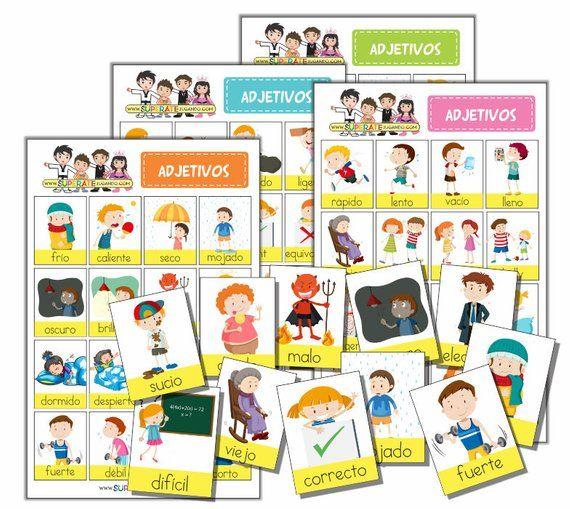 Spanish Printable Adjectives Bingo Game To Learn Spanish Adjetivos Loterias Para Niños Aprender Español