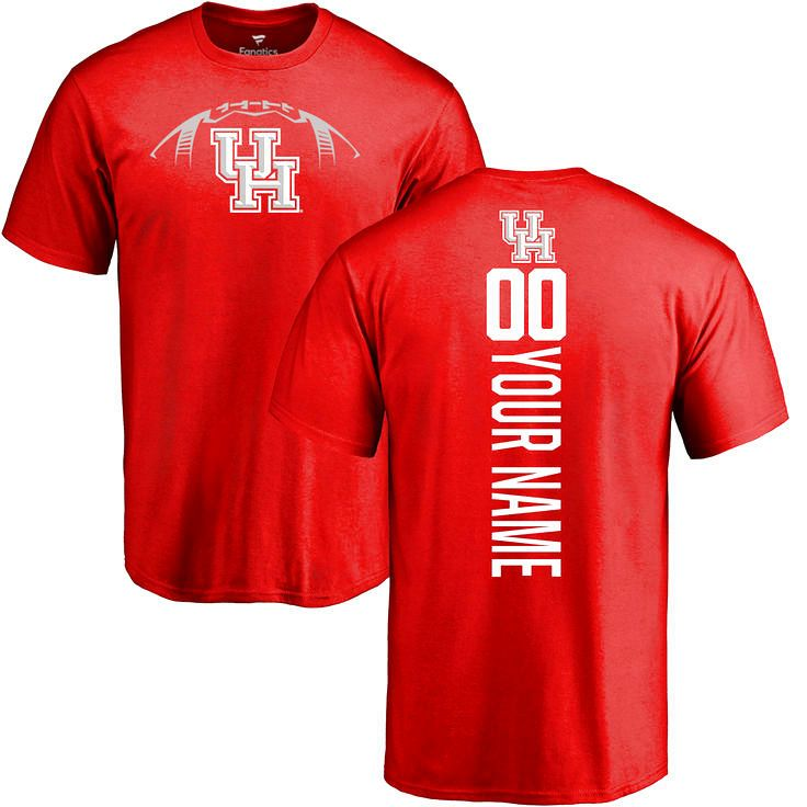 Houston Cougars Football Personalized Backer T-Shirt - Red - $37.99