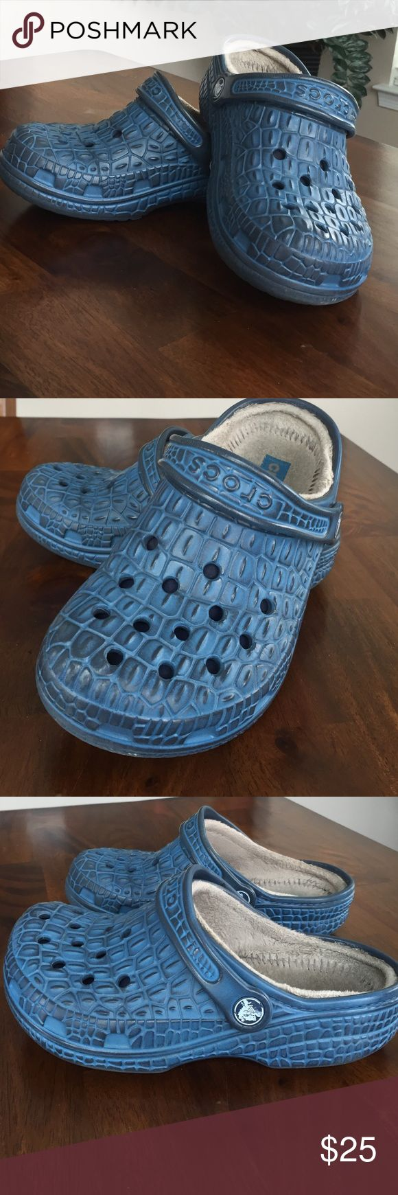 Boys Crocs Sale Blue Crocs with ribbed pattern.  Blue with lining.  Size 3 boys.  Super cute!!  CROCS Shoes Sandals & Flip Flops
