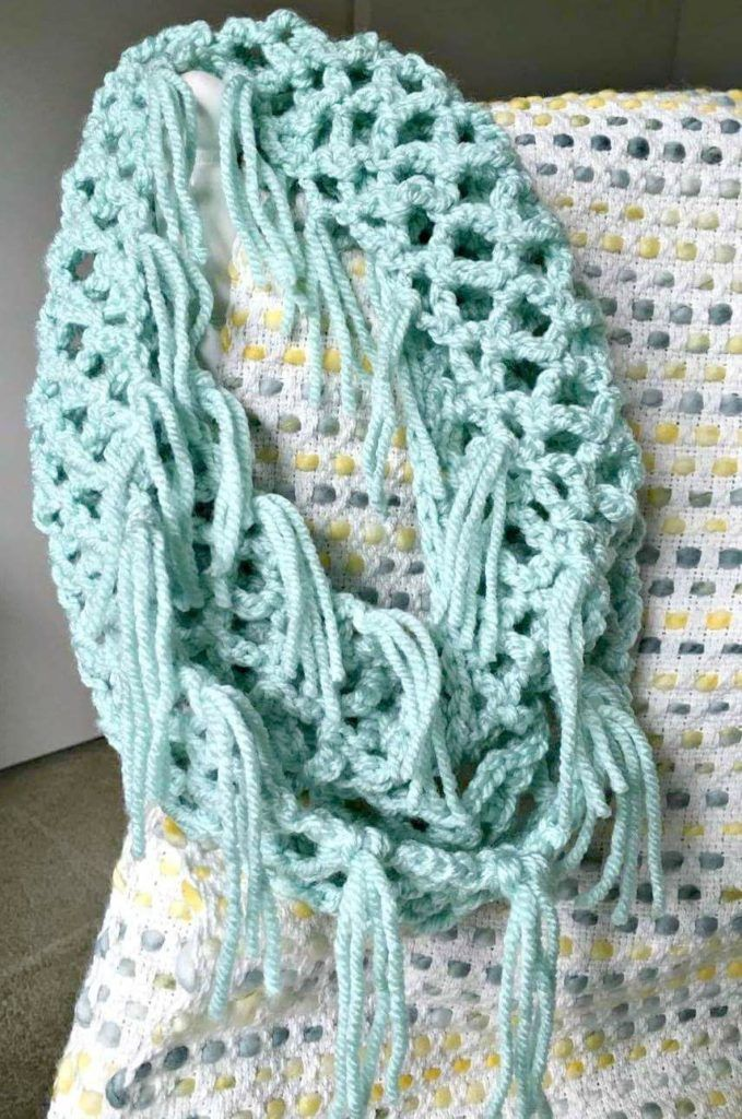 FREE Lace Fringe Infinity Scarf Pattern As I'm sitting down here with my warm cup of coffee, I'm wearing this ever-so-soft scarf as I type. This scarf works up VERY quick and as usual, one uses one skein of yarn...