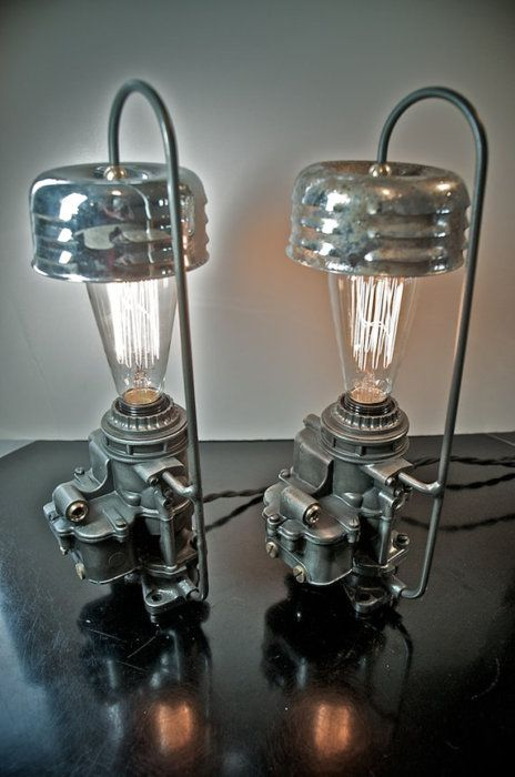 lamps made from carburetors and air cleaners #ManThings