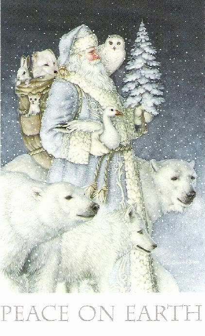 Christmas - Peace on Earth - St. Nicholas / Santa & his winter friends - Snowy Owl - Polar Bears - White Fox -