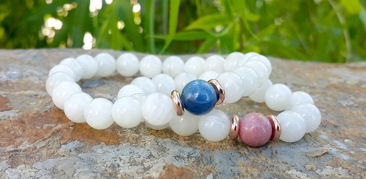 Couples Bracelet, His & Hers Gemstone Bracelet, Matching Bracelet, Couple Wedding Gift, Moonstone, Kyanite, Rhodonite Beaded Couple Jewelry