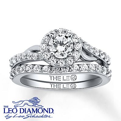 Leo Diamond Bridal Set 1 ct tw Round-cut 14K White Gold