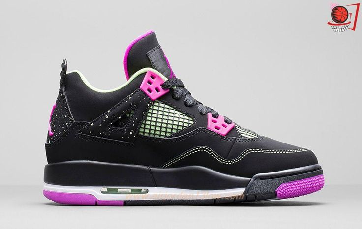Discount Shoes Online Fuchsia 487725-027 Black/Liquid Lime/White/Fuchsia AIR JORDAN 4 RETRO