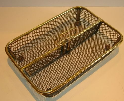antique english metallic mesh polished brass cutlery tray desk tidy stationery caddy