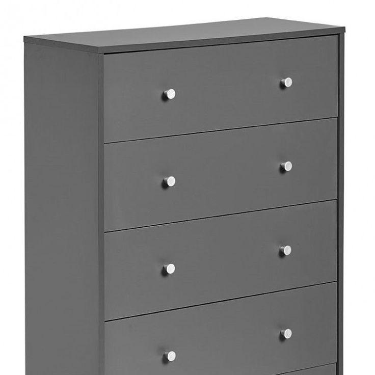 Bedroom Storage 5 Drawer Dresser Chest Modern Wood Home Furniture, Grey #BedroomStorage5DrawerDresser #Modern