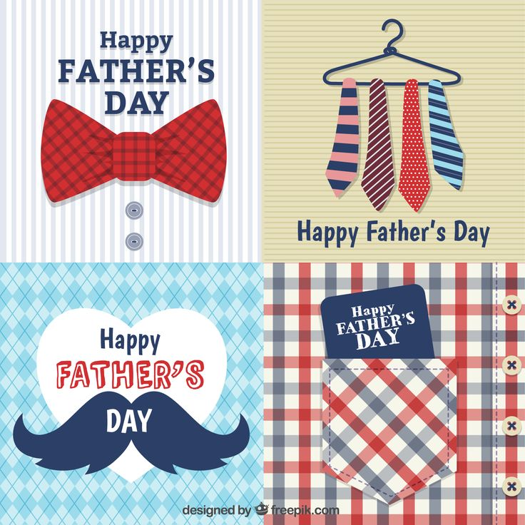 4 fathers day cards vector
