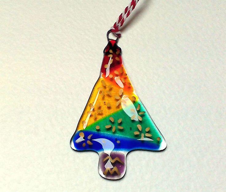 Christmas Tree Decoration Ornament Rainbow Festive Holiday by Glassprimitif on Etsy