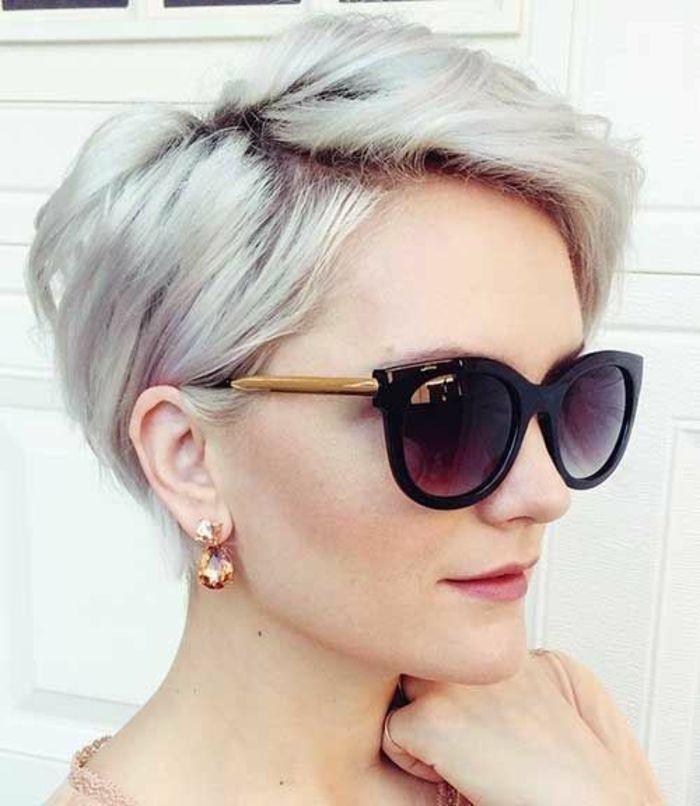 coiffure ovale, lutin avec effet de dôme sur le cou, couleur gris plat …