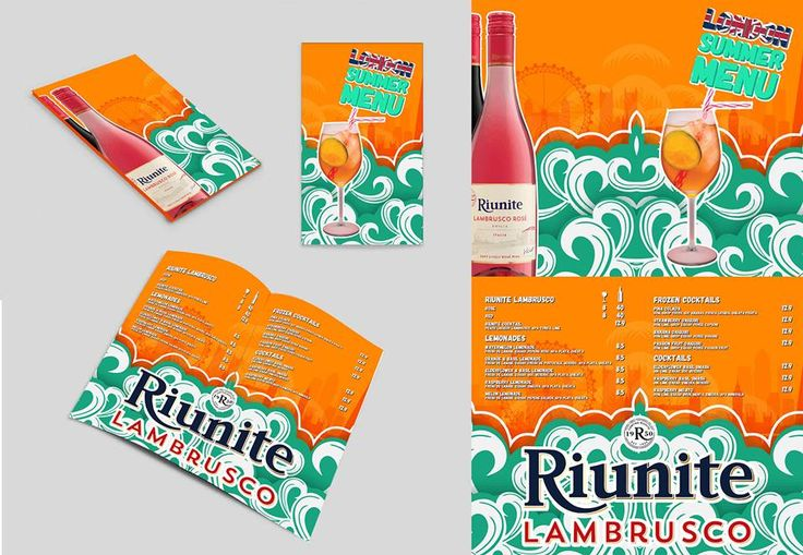 Summer drinks menu design full of colour