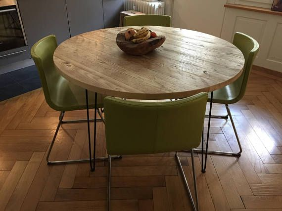 Reclaimed Round Dining Table Industrial Solid Wood Hairpin Legs