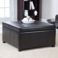 Furniture. Magnificent Black Leather Coffee Table With Storage Ideas. cube black upholstered living room ottoman