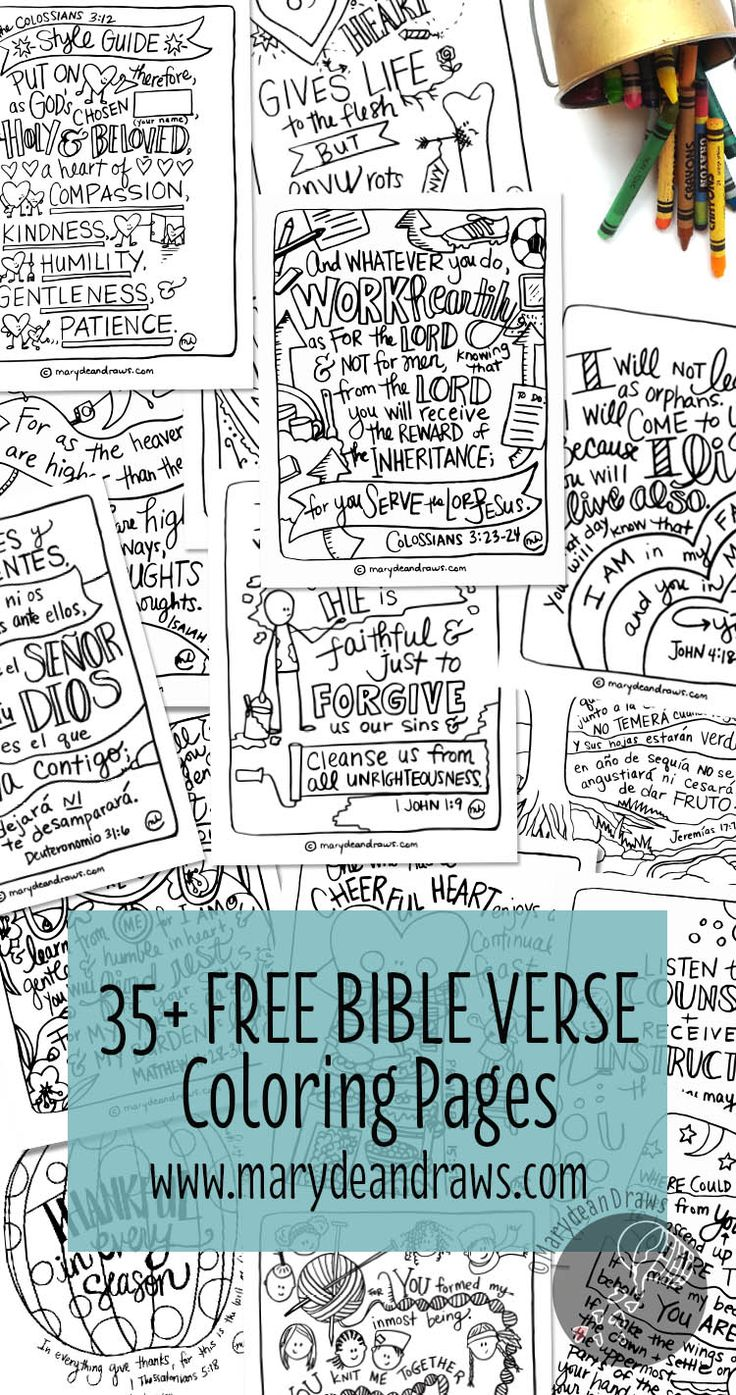 More than 35 (and always adding) FREE hand-drawn Bible verse coloring pages for children and adults to learn the Bible! Spanish and English coloring pages.