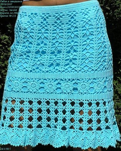 Blue Crochet Skirt - Free Crochet Diagram - (jane-crochet)
