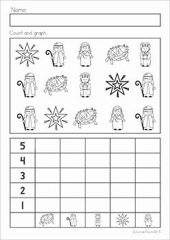 Christmas Nativity Preschool Math and Literacy No Prep worksheets and activities. A page from the unit: count and graph