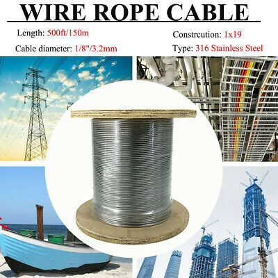 Details About Cable Railing 500ft T316 Stainless Steel Wire Rope 1 8 Wire 1x19 Aircraft Cable Stainless Steel Wire Cable Railing Stainless Steel Cable
