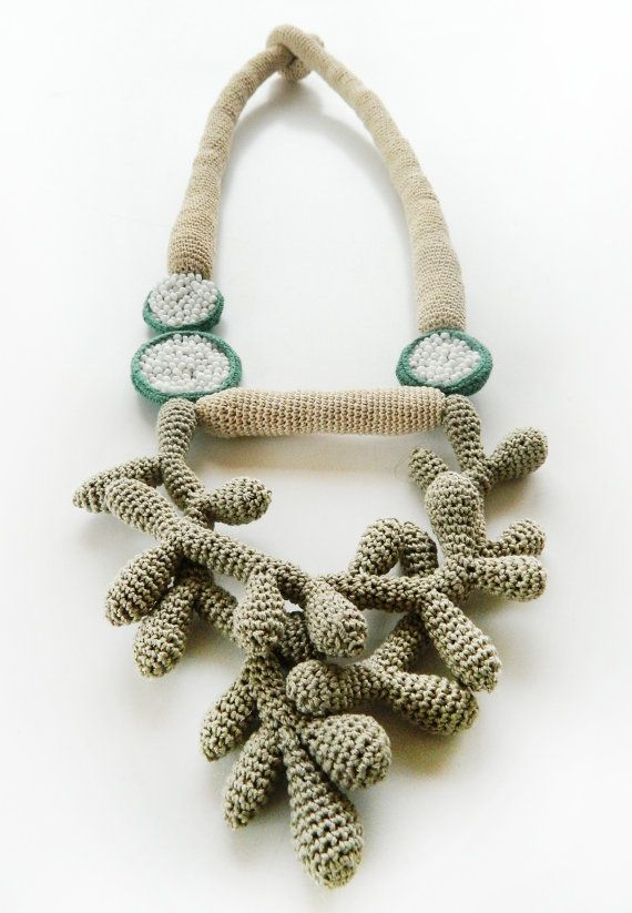 Crochet necklace inspired by aquatic shapes ( corals) by Lidia Puica