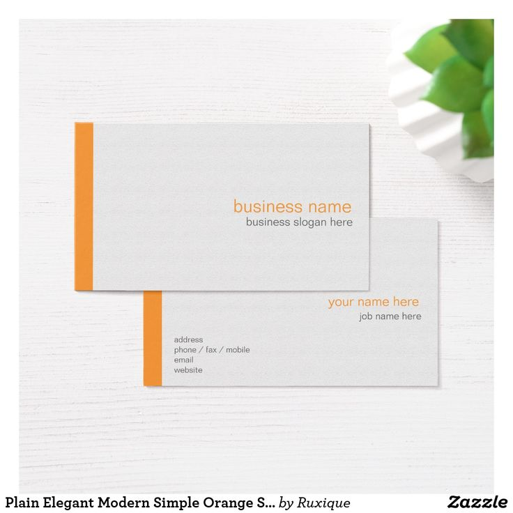 Plain Elegant Modern Simple Orange Stripe on White Business Card #PlainCard #Elegantbusinesscard #Moderncard #Simple #Orange #Stripe on White #Business #Card #businesscard