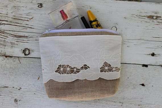 Linen Makeup bag With Vintage Lace Travel pouch Rustic