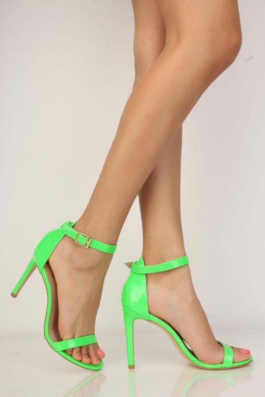 8e53337806a Neon Green Patent Open Toe Single Sole Heels | 000 NEW SORT (JUST ...