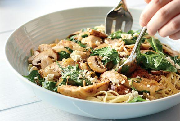 Mediterranean Chicken and Spinach Pasta