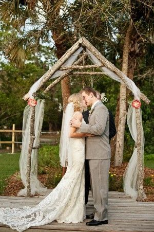 Outdoor Wedding Arbors | Wooden-Branch-Wedding-Arbor | OUTDOOR WEDDING CEREMONY, AISLE  RECE ...