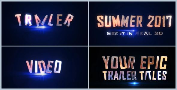 Epic Trailer Titles 01 (3D Object) #Envato #Videohive #aftereffects