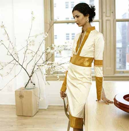 American sari dress   FOREIGN POLICY. An elegantly-cut sari-inspired dress with gold brocade ...