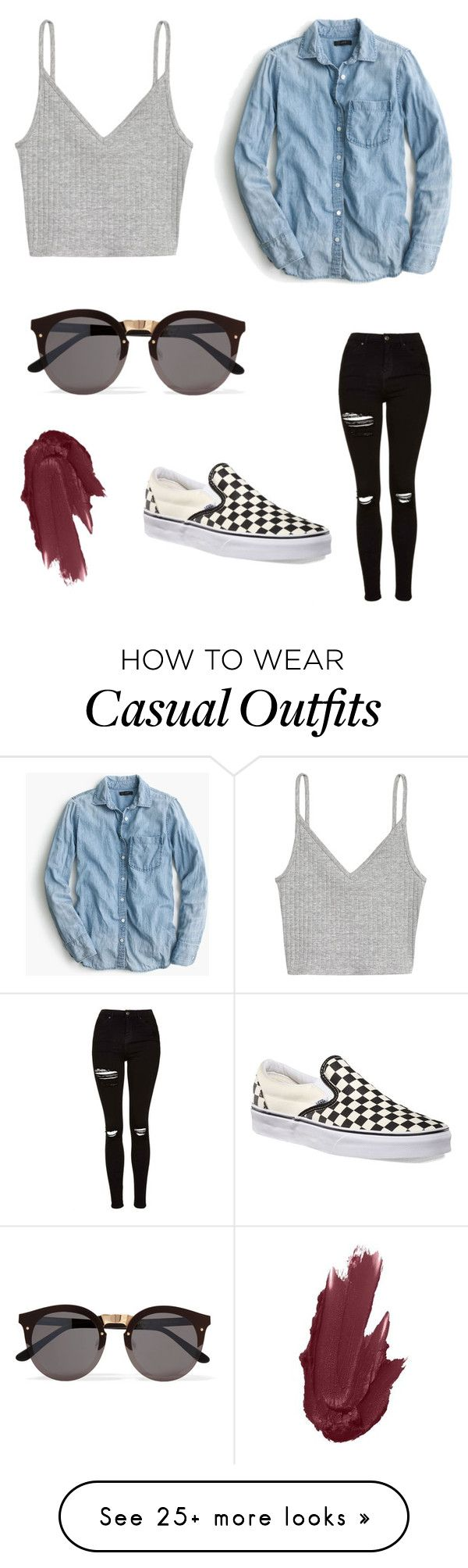 """""""casual first date"""" by pikachufoster on Polyvore featuring H&M, J.Crew, Topshop, Vans, Maybelline and Illesteva"""