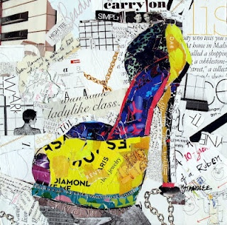 """""""Ladylike Class"""" 12x12 a collage painting to display during my June 2, one day collage workshop at the Dutch Art Gallery, Dallas. Nancy Standlee Art Blog"""