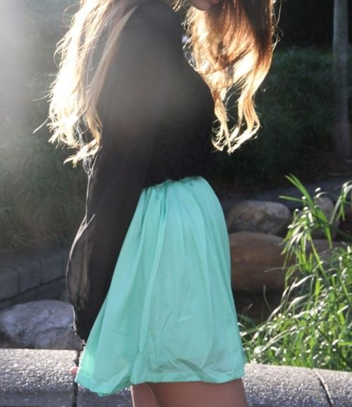 Black & Teal: Fashion, Style, Skirts, Color, Dream Closet, Clothes, Outfit, Mint Diff