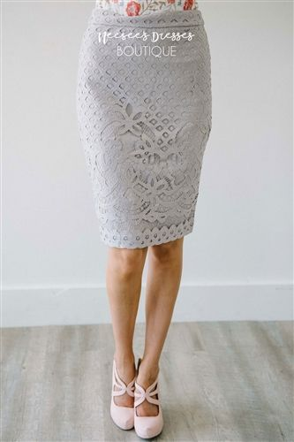 Gray Lilac Lace Pencil Fit Modest Skirt, modest dresses, modest dress, modest skirts, church dress, modest bridesmaids dresses, best online modest dresses, buy modest dresses online, cute summer dress, maxi skirt, mikarose, best online boutique