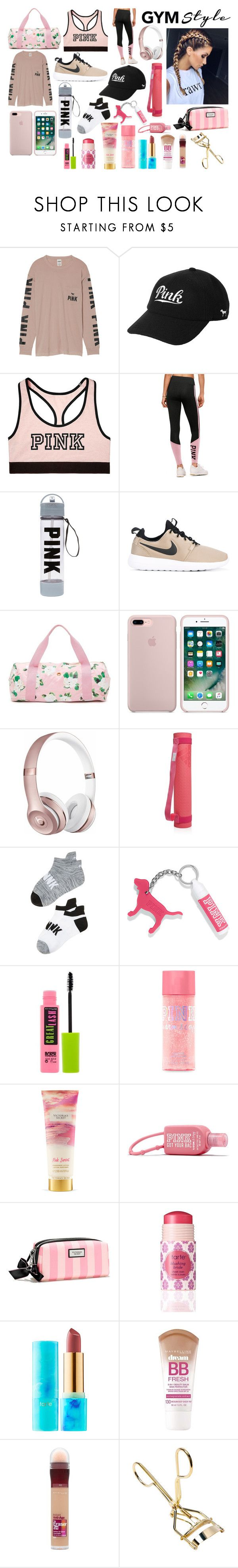 """""""gym style"""" by valen200329 on Polyvore featuring moda, Victoria's Secret, NIKE, ban.do, Beats by Dr. Dre, adidas, Maybelline y tarte"""