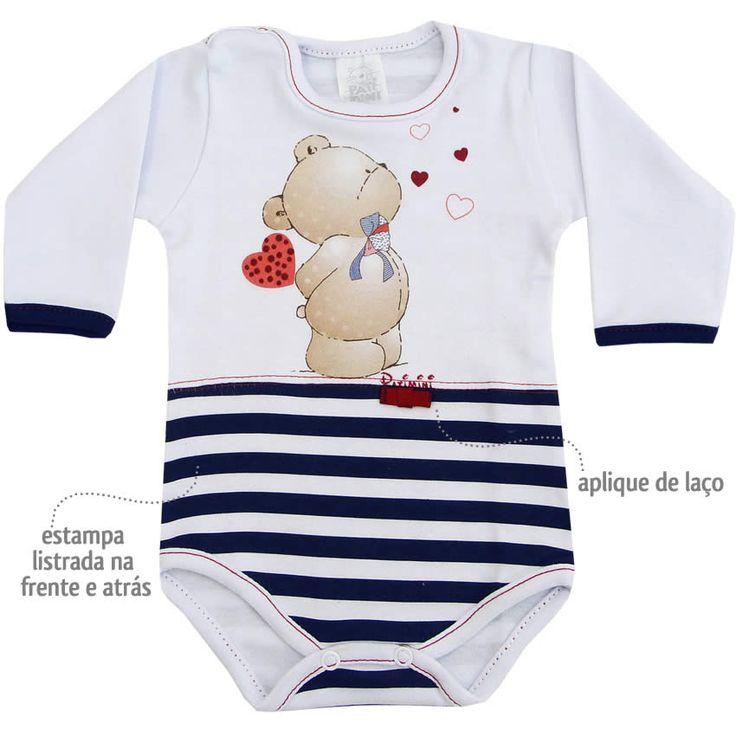 Body Bebê Menina Urso Manga Longa Branco - Patimini :: 764 Kids | Roupa bebê e infantil