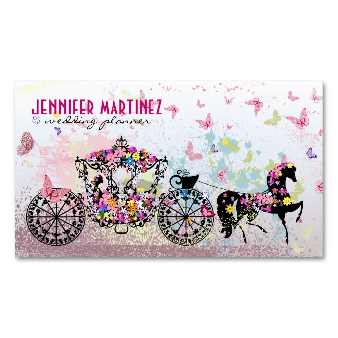 2207 best wedding business card templates images on pinterest wedding horse carriage flowers butterflies business card junglespirit Gallery