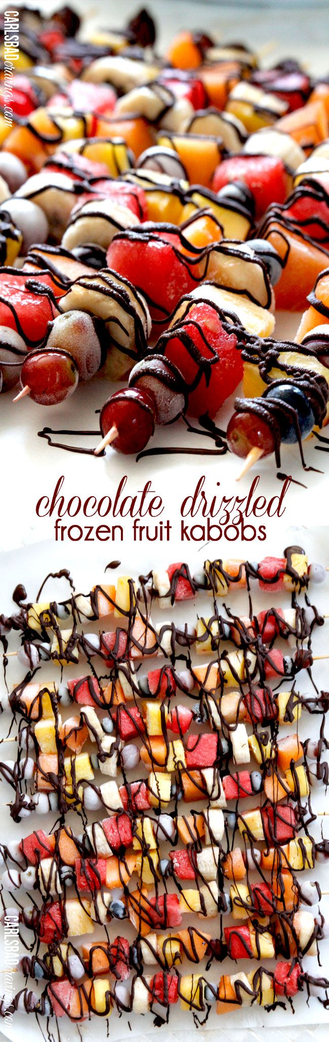 Have you ever had frozen fruit? It tastes like candy! Freeze your favorite fruit then drizzle with chocolate for the perfect light dessert, refreshing snack, or guiltless indulgence. I make these ahead of time and keep them in my freezer to munch whenever I have a chocolate fruit craving!